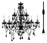 """Plug-in 9 Light Black Hanging Swag Chandelier H26""""xW27"""", Black Metal Frame with Black Glass Stem and Black Acrylic Crystals & Beads That Look Just Like Glass"""