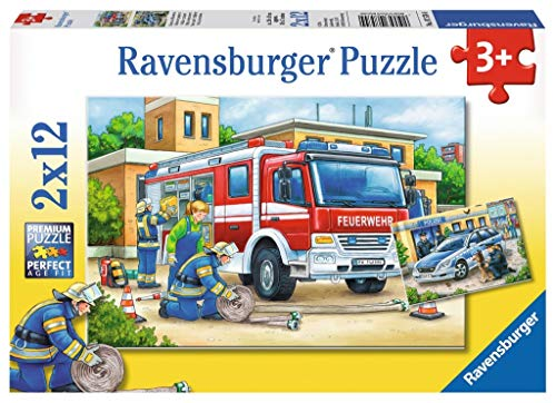 Ravensburger Kinderpuzzle 07574 - Polizei und Feuerwehr - 2 x 12 Teile