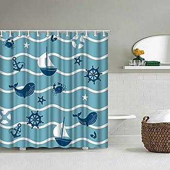 Blue Ocean Fish Shower Curtain Anchor Sailboat Whale Printing Pattern Nautical Theme Shower Curtain Children Kids Bathroom Decor Bath Curtain