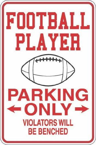 StickerPirate Metallschild, Motiv: Pirate Football Player Parking Only, 20,3 x 30,5 cm, Aluminium S292