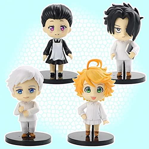 HHAA 4 Unids/Set The Promised Neverland Figura De Anime Emma Norman Ray Jemima Figuras De Acción Modelos Regalos para Niños