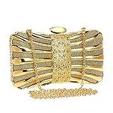 ClearloveWL Bolsos de noche con cadena para el hombro, con diamantes, color mezclado, dorado, para bolsos de boda (color: oro)