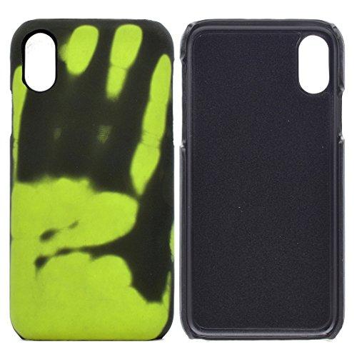 HUANRUOBAIHUO-PHONE CASE Caso para iPhone X Thermal Sensor Decoloration Funda Protectora de la contraportada Carcasa del teléfono (Color : Verde)