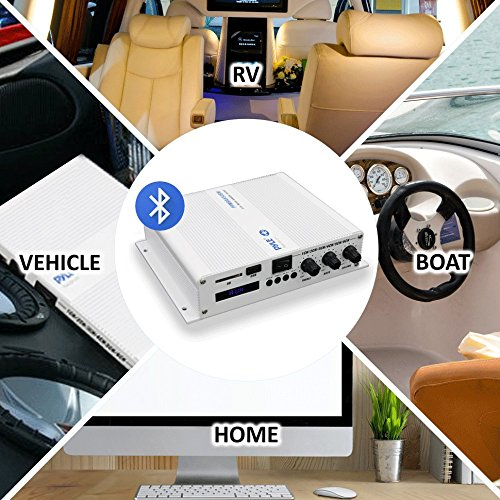 Amplificador de audio Bluetooth de 6 canales – 600 W de potencia compacto resistente a la intemperie Audio Amp Sistema receptor inalámbrico W/MP3, USB, lector SD, control de volumen de graves agudos, pantalla LCD digital – Pyle