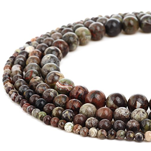 RUBYCA Wholesale Natural Ocean Jasper Gemstone Round Loose Beads for Jewelry Making 1 Strand - 6mm