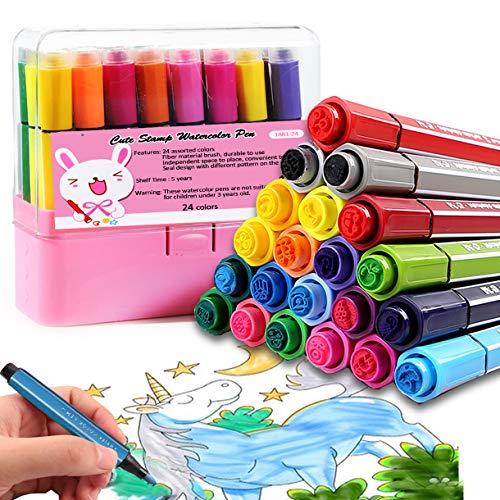 24 Farben Kinder Filzstifte mit Briefmarken - Auswaschbar Stifte Set, Bunte Stempelstifte, Ungiftig Marker Pens für Zeichnung Kritzeln