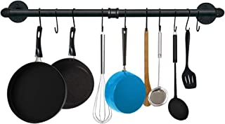 TLBTEK 31.5 Inch Black Pipe Pot Rack Wall Mounted,Pots and Pans Hanging Organizer,Pot Lid Utensil Holder,Coffee Mug Rack,Cup Hanger Bar for kitchen with 10 Detachable S Hooks