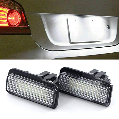 2pcs Car License Plate Light, Replacement for 2001-2007 W203 C-Class/ 2002-2008 W211 E-Class/ 2005-2009 W219 CLS-Class, 5W 12V Led White Rear License Tag Lights Rear Number Plate Lamp, 6500K White