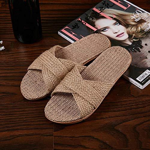 KADIS Zapatillas de Playa para Mujer de Verano Chanclas de Lino cómodas Chanclas de cáñamo Antideslizantes para Mujer Zapatos Casuales caseros Cruzados para Mujer Sandalias, C, 6.5