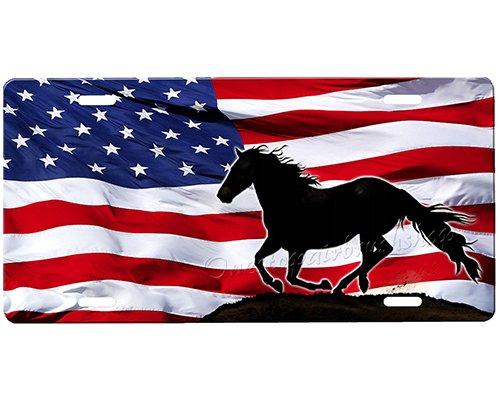 onestopairbrushshop Horse American Flag License Plate
