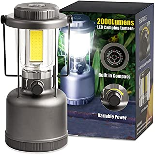LED Camping Lantern - 2000LM Variable Power Retro Battery Powered Camping Light with Compass, COB High Brightness for Hiki...