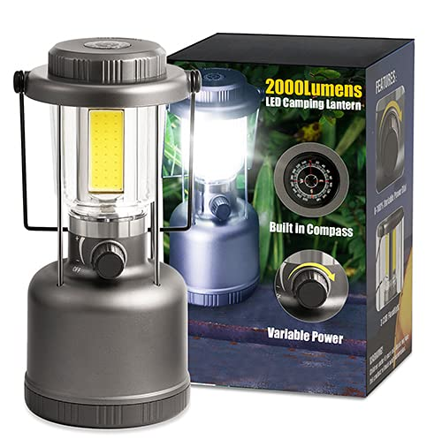 LED Camping Lantern - 2000LM Variable Power Retro Battery Powered Camping Light with Compass, COB High Brightness for Hiking, Fishing, Repairing and Emergency Lighting