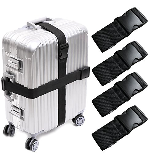 Darller 4 PCS Luggage Straps Suitcase Belts Travel Accessories Bag Straps, Black, One Size