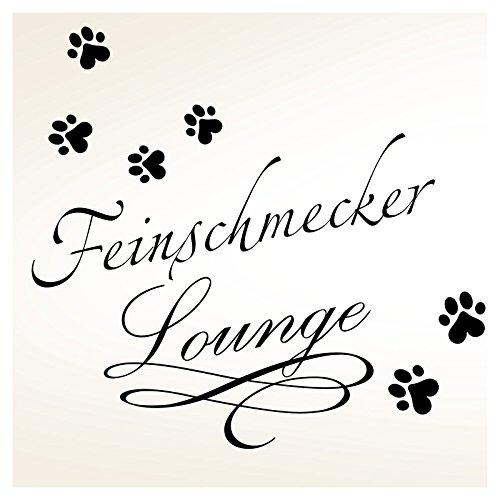 Wandaro W3334 Wandtattoo Feinschmecker Lounge I schwarz (BxH) 40 x 31 cm I Tiere Haustiere Aufkleber selbstklebend Pfoten Wandaufkleber Wandsticker