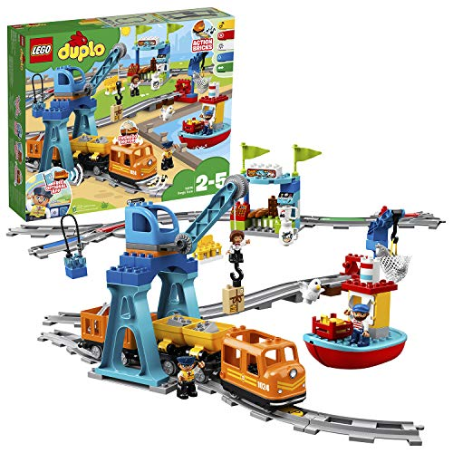 """LEGO 10875 DUPLO Güterzug, """"Push & Go""""-Lok mit Lichtern und Geräuschen, Funktionssteine und 2 Kräne,..."""