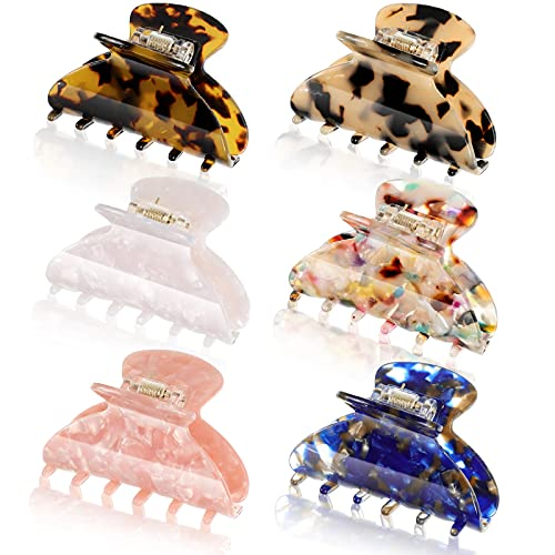 6 Pieces Hair Clips for thin hair 2.6 Inch small claw clips Banana Clips tortoise shell hair clip Jaw Clips French Design Barrettes Leopard Print Clip Accessories for Women Girls (Stylish Patterns)
