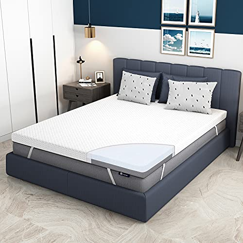 Queen Mattress Topper, Avenco Queen Foam Mattress Topper, 4 Inch Queen Memory Foam Mattress Topper with Removable Cover, Medium Firm, Prevent Odors Bamboo Foam and Gel-Infused Ultimate Comfort Foam