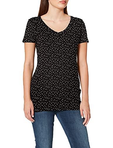 Noppies tee SS V Neck Rome Camiseta premamá, Multicolor (Black AOP P108), 36 (Talla del Fabricante: X-Small) para Mujer