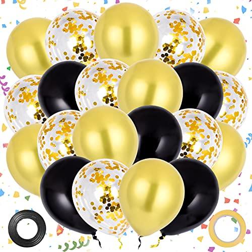 Colmanda Globos de Oro Negro, 60 Piezas Globos de Fiesta Globos de Confeti Látex Helio Globos, Globos de Cumpleaños Guirnalda de Globos Látex Helio Globos para Aniversario Fiestas de Decoraciones