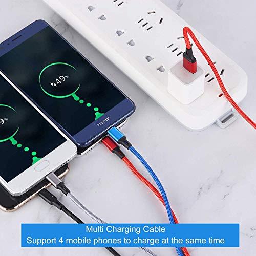 Amuvec4in1充電ケーブル3.0A急速充電ライトニングケーブルType-C/2*ライトニング/MicroUSB充電ケーブルナイロン編みマルチUSBケーブルIOS/Android/Type-C同時給電可能Phone11ProMax/Xs/XR/X/8/7Plus/Sony/Huawei/SamsungGalaxy/GooglePixel/LG多機種対応【2