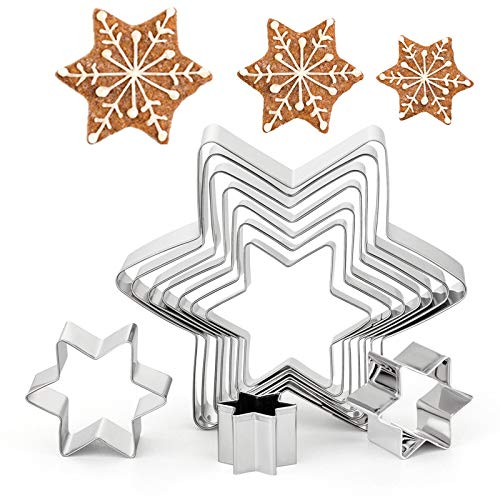 GWHOLE 10 Pcs Star of David Cookie Cutters, Snowflake Christmas Cookie Tree Cutter Set for Christmas Winter Holiday