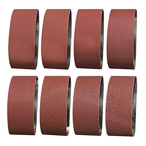 Sruhrak Bandas de Lija 75 x 457 mm - 1 de Cada Uno de Granos 40/60 & 2 de Cada Uno de Granos 80/120/180/240/320/400 Lijado Correas Para Lijadora de Banda (14 UNIDADES)