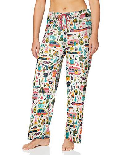 Hatley Jersey Pyjama Pants Pantaln de Pijama, Glamping, M para Mujer