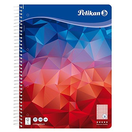 Pelikan 100106 Spiralblock A4, 120 Blatt, Lineatur 28 (kariert), Schulschreibpapier, 90g/m², FSC Mix, weiß