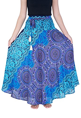 Lannaclothesdesign Damen Langer Maxirock Bohemian Zigeunerkleid Hippie Style Kleidung - Blau - Länge 37' S/M (Größe)