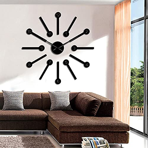 Big Space Wall Clocks Kit Stickers Home Art Modern House Wall Decor DIY Big Hands Wall Clock Hanging Wall Watch Housewarming Gift(Negro,37inch) Regalo Vintage Moderno Hecho a Mano para Adultos adoles