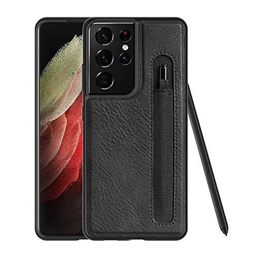 DNGN Progettato per Samsung Galaxy S21 Ultra Case compatibile S-Pen Built-in, custodia in pelle PU con portapenne (nero)