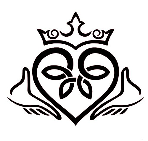 Claddagh Celtic Knot Heart Vinyl Decal, fáinne Chladaigh sticker, Love, Loyalty, and Friendship Decal, Irish Wall Art