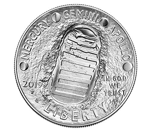 2019 P Apollo 11 50th Anniversary Curved Commemorative Uncirculated Coin Silver Dollar Mint Packaged