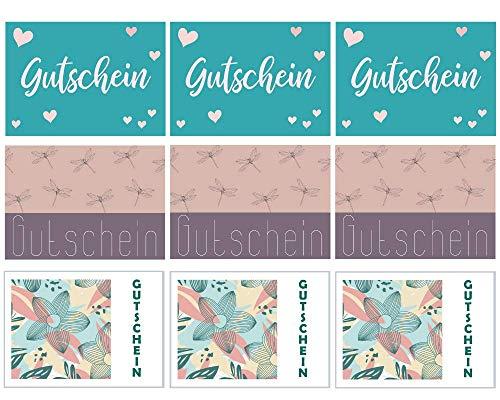 Gutschein-Set (A6 Postkarten) | 9 Stück | 3 Motive | Rückseite zum selbst beschreiben | Für Geburtstage, Jahrestage, Muttertag etc. (Libellen, Herzen, Blumen)