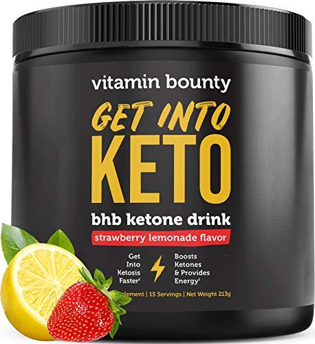 Get Into Keto by Vitamin Bounty - Exogenous BHB Ketone Drink - Strawberry Lemonade Flavor - 0g net Carbs