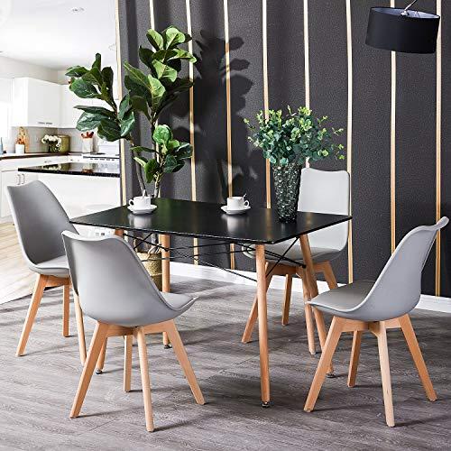 H.J WeDoo Tisch mit Stühlen, Essgruppe Schwarz Tisch mit 4 Grau Stühlen für Esszimmer, Küche & Wohnzimmer