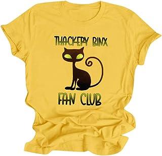 Meikosks Halloween Tees Womens Graphic Printed Tops Short Sleeve Crewneck T Shirt Fashion Blouses