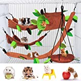 5 Pcs Hamster Cage Guinea Pig Cage Accessories, Ferret Cage Toys Hammock, Hamster Bed Rat Hammock, Rat Cage Toys Leaf Hanging Tunnel and Swing for Sugar Glider Squirrel Hamster Playing Sleeping