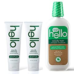 Contains 2 hello naturally whitening fluoride toothpastes and 1 hello naturally fresh antiseptic mouthwash This vegan toothpaste whitens naturally and gently, prevents cavities, strengthens enamel, and provides mind-blowing freshness. Hello naturally...