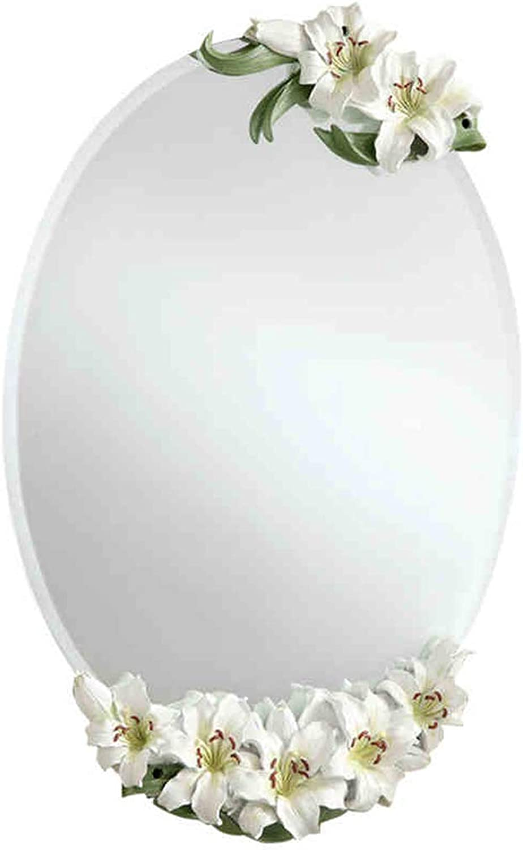 CQ European Bathroom Mirror Bathroom Mirror Waterproof Bathroom Fashion Lily Wash Wall Mirror Vanity Mirror (color   Yellow)