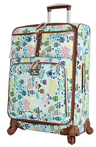 Lily Bloom Luggage 24' Expandable Design Pattern Suitcase With Spinner Wheels For Woman (24in, Aquarium Life)