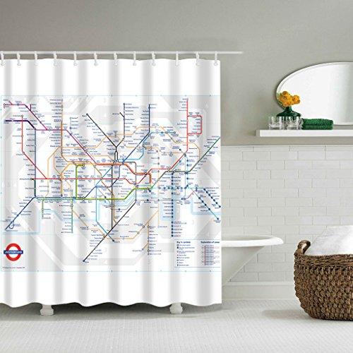 Forgun London Subway Map Bathroom Waterproof Fabric Shower Curtain Set 12 Hook 71 inch