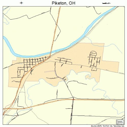 Large Street & Road Map of Piketon, Ohio OH - Printed poster size wall atlas of your home town