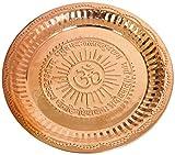 Hindú Puja Thali hecho a mano – Símbolo Om grabado y GayatriMantra – Regalos religiosos – Diámetro de 30 cm aproximadamente, para diwali y regalos de festival (Artículo religioso Pooja Thali)