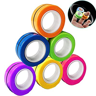 Magnetic Infinity Cube Fidget Toys Fidget Spinners Magnet Block Rings Finger Hand Desk Toy Pocket Travel Magical Ring Props Tools Stress Relief Gadget, Colorful Spinning Finger Gyro Figit Focus Toys by Anzmtosn