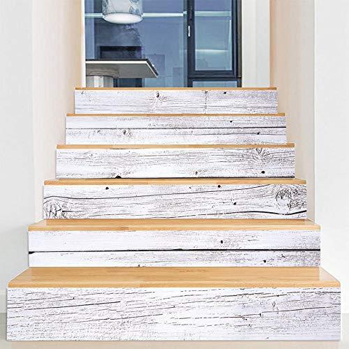 HADAIZI Stickers Escalier 3D Grain de Bois Blanc Auto-adhésifs Étanche Amovible pour Escaliers Salle de Bains Cuisine DIY Décor À La Maison