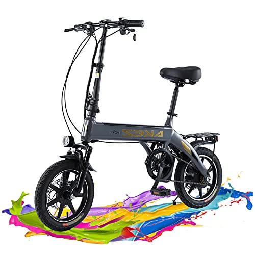TAOCI Bicicleta eléctrica Plegable para Adultos, Bicicleta eléctrica de 18 Pulgadas con Motor de 250W, batería de 36V y 10Ah, Frenos de Doble Disco Delantero y Trasero-Gray