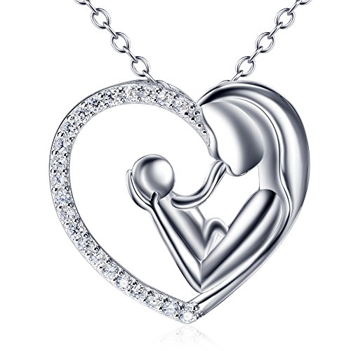 Flyow 925 Sterling Silver Mother and Child Love Heart Pendant Necklace for Women with Delicate Cubic Zirconia, Silver Chain 18 Inches Mum Necklaces (Mother and Child)