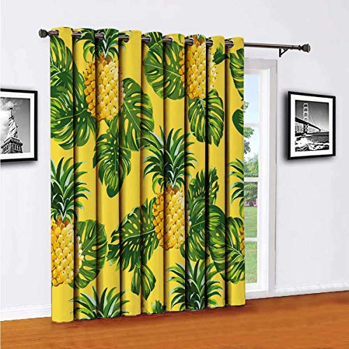 Pineapples and Tropical Leaves Background Vintage Seamless Pattern in Vector Room partition Curtain Wall partition, W52 x L84 Inch