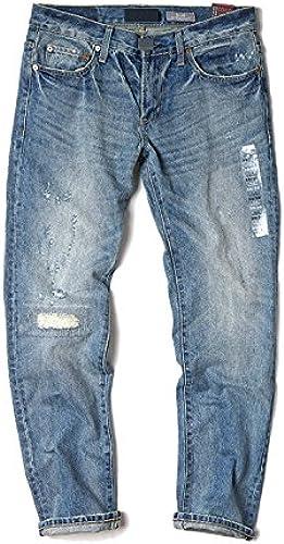 Dufjodi Le Mode Original de Vieux Hommes Blancs Loisirs Jeans lavés décontractés,Photo Couleur,Trente - Quatre